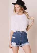 Missy Empire Maja Blue Denim Distressed High Waisted Shorts