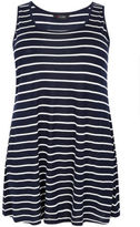 Yours Clothing YoursClothing Plus Size Womens Ladies Top Shirt Stripe Longline Sleeveless Top