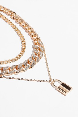 Nasty Gal Womens Lock and Key Layered Chain Necklace - Metallics - One Size