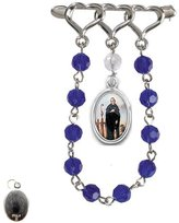 Gifts by Lulee Saint Peregrine Patron Cancer Patients Silver Plated Lapel Pin Chaplet Glass Beads Blessed Holy Card