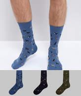Barbour Dog Motif 3pk Sock Giftbox