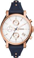 Fossil Women's 38mm Blue Leather Band Steel Case Quartz Analog Watch Es3838