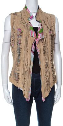 Roberto Cavalli Multicolor Printed Silk and Beige Suede Overlay Sleeveless Vest M