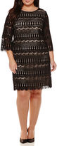 Ronni Nicole RN Studio by 3/4-Sleeve Fringe Lace Sheath Dress - Plus
