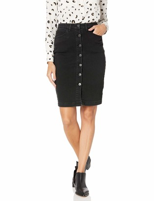 Cupcakes And Cashmere Women's illona high Waist Denim Pencil Skirt with Logo Buttons