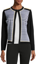 Ming Wang Houndstooth Knit Jacket, White/Linen/Black