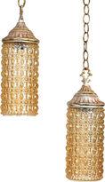 One Kings Lane Vintage Midcentury Amber Pendant Lights, Pair