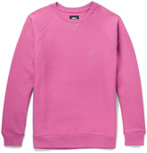 Stussy Embroidered Fleece-Back Cotton-Jersey Sweatshirt