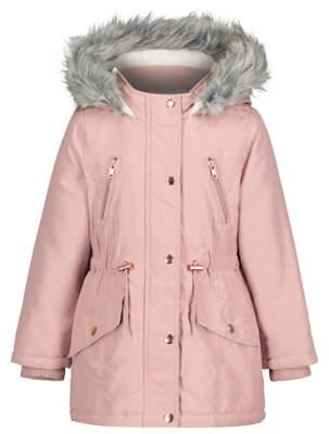 George Pink Faux Fur Shower Resistant Parka