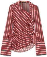 Hellessy Wyatt Asymmetric Striped Silk And Cotton-blend Blouse - Red