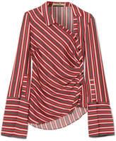 Hellessy Wyatt Asymmetric Striped Silk And Cotton-blend Blouse