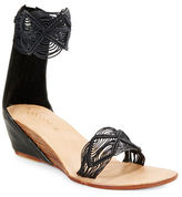Cocobelle Lilly Embroidered Stacked Wedge Sandals