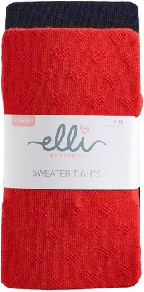 Girls 4-14 Elli by Capelli 2-pk. Pointelle Heart Sweater Tights