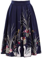 Tanming Women's Chinese Style Knee Length Floral Print Midi Skirt