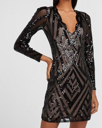 Express Sequin Scalloped V-Neck Sheath Dress