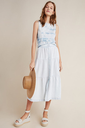 Cloth & Stone Tiered Midi Skirt By in White Size XS
