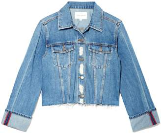Vince Camuto Denim Cuffed-sleeve Raw-hem Jacket