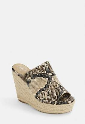Missguided Nude Snake Print Espadrille Wedges