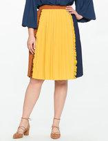 ELOQUII Plus Size Pleated Ruffle Midi Skirt