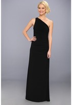 Laundry by Shelli Segal One Shoulder Sleeveless Gown w/ Side Sequins