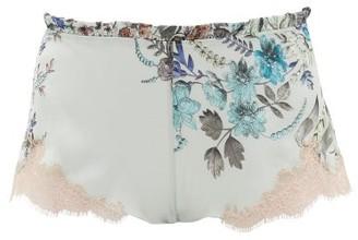 Carine Gilson Flottant Lace-trimmed Silk Shorts - Womens - Green Multi