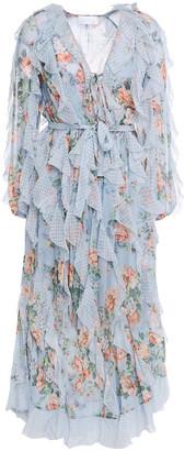 Zimmermann Ruffled Printed Chiffon Midi Dress