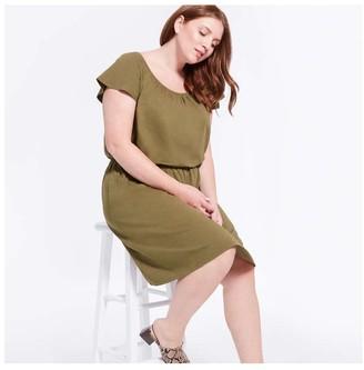 Joe Fresh Women+ Flutter Sleeve Dress, Olive (Size 1X)