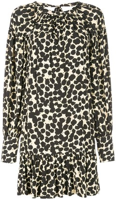 Proenza Schouler Painted Dot Long Sleeve Short Dress
