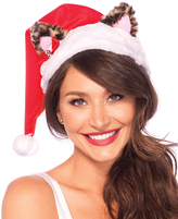 Leg Avenue Red & White Leopard Cat Ear Santa Hat