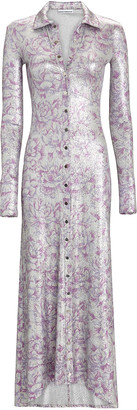 Paco Rabanne Lurex Floral Maxi Shirt Dress