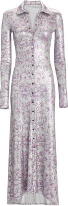 Paco Rabanne Lurex Floral Maxi Shirt Dress