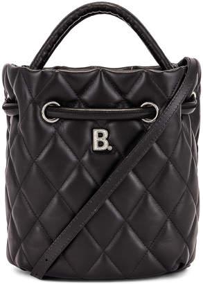 Balenciaga Small Quilted Leather B Bucket Bag in Black   FWRD