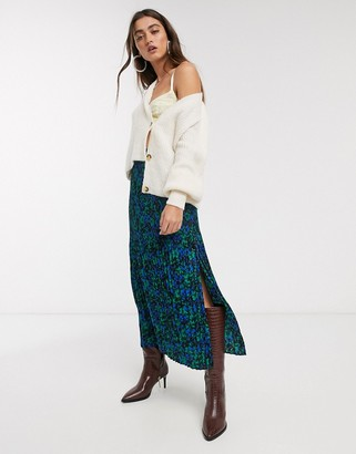 Topshop floral midi skirt in blue