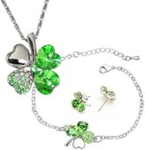 Dahlia Four Leaf Clover Swarovski Elements Crystal Rhodium Plated Necklace, Earrings & Bracelet Set