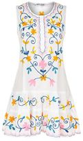 Juliet Dunn Drop Waist Floral Embroidered Dress