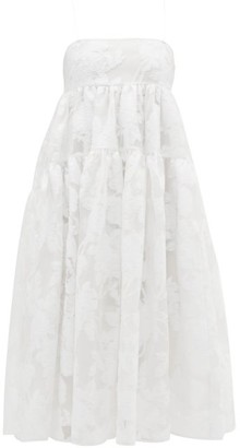 Cecilie Bahnsen Sofie Tie-back Rose-chinee Dress - White
