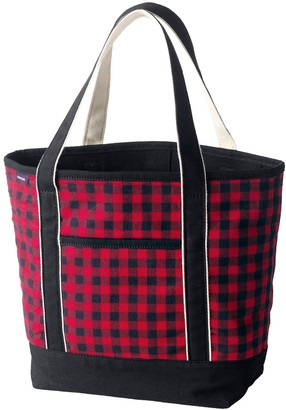 Lands' End Flannel Open Top Tote Bag
