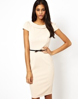 Belted Pencil Dress with Bardot Neck