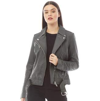 Barneys New York Womens Annabelle Leather Jacket Grey