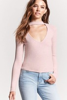 Forever 21 Cutout Marled Knit Top