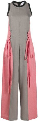 Atu Body Couture Wide-Leg Contrast Jumpsuit