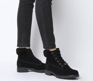 Timberland Slim Premium 6 Inch Fur Cuff Boots Jet Black Exclusive