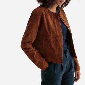 La Redoute Collections Cropped Suede Collarless Bomber Jacket with Pockets