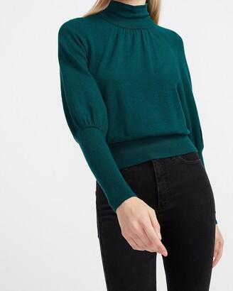 Express High Ribbed Blouson Sleeve Turtleneck Sweater