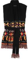 Etro Belted Fringed Wool-blend Gilet - Black