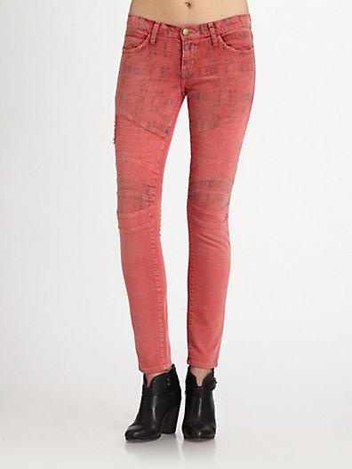 Current/Elliott The Moto Printed Ankle Skinny Jeans
