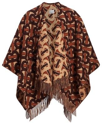 Burberry Charlotte TB Monogram Wool & Cashmere Poncho