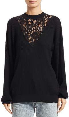 Chloé Lace Inset Wool & Cotton Knit Sweater