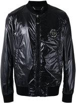 Philipp Plein logo plaque bomber jacket - men - Cotton/Polyamide/Polyester/Spandex/Elastane - L