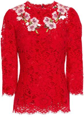 Dolce & Gabbana Floral-appliqued Cotton-blend Corded Lace Top